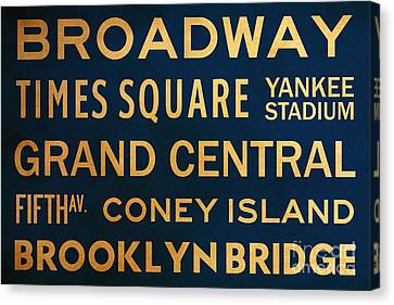Times Square Canvas Print - New York City Subway Sign Typography Art 4 by Nishanth Gopinathan