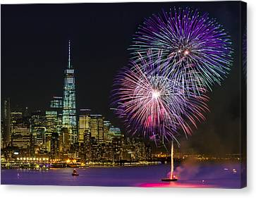 New York City Summer Fireworks Canvas Print by Susan Candelario