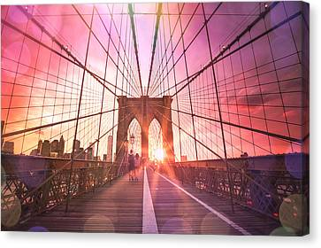 New York City - Sunset On The Brooklyn Bridge Canvas Print by Vivienne Gucwa