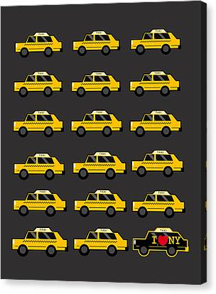 Yellow Building Canvas Print - New York City Taxi by Art Spectrum