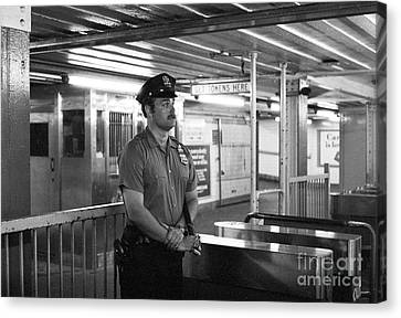 Law Enforcement Canvas Print - New York City Transit Police Officer 1978 by The Harrington Collection