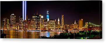 New York City Skyline Canvas Print - New York City Tribute In Lights And Lower Manhattan At Night Nyc by Jon Holiday