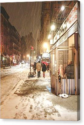New York City - Winter Night - Snow In The City Canvas Print by Vivienne Gucwa