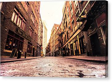 Fire Escape Canvas Print - New York City's Stone Street by Vivienne Gucwa