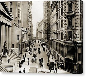 J.p Canvas Print - New York Citys Wall Street, Looking by Everett