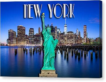 New York Classic Skyline With Statue Of Liberty Canvas Print by Az Jackson