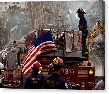 New York Firefighters And Salt Lake Canvas Print by Everett