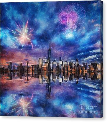 New York Fireworks Canvas Print by Ian Mitchell