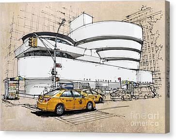 Newyorkcity Canvas Print - New York Guggenheim, Umbrellas And Yellow Cabs by Pablo Franchi