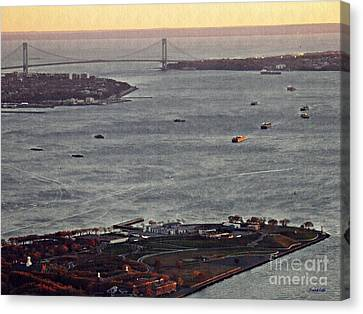 New York Harbor At Dusk Canvas Print by Sarah Loft