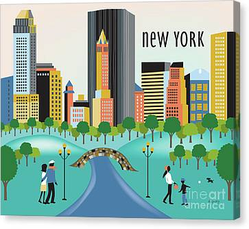 Times Square Canvas Print - New York Horizontal Skyline - Central Park by Karen Young