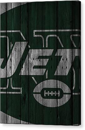 New York Jets Wood Fence Canvas Print by Joe Hamilton
