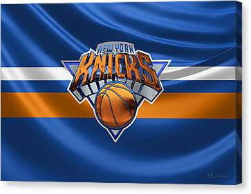 New York Knicks - 3 D Badge Over Flag Canvas Print