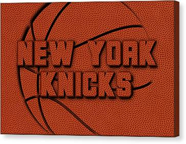 New York Knicks Leather Art Canvas Print by Joe Hamilton