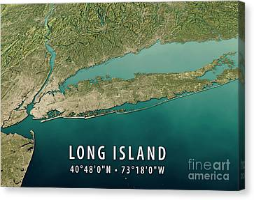 New York Long Island 3d Render Satellite View Topographic Map Ho Canvas Print
