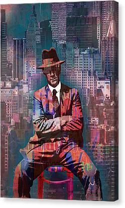 New York Man Seated City Background 2 Canvas Print