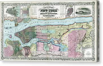 Nyc Canvas Print - New York Map Ca 1857 by Jon Neidert