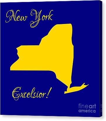 New York Map In State Colors Blue And Gold With State Motto Excelsior Canvas Print by Rose Santuci-Sofranko