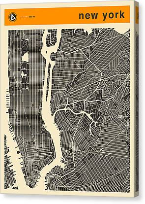 New York Map Canvas Print by Jazzberry Blue