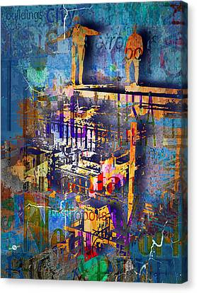 New York Men On Unfinished Skyscraper Blue Canvas Print by Tony Rubino