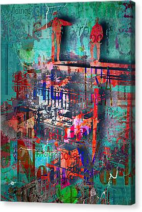 New York Men On Unfinished Skyscraper Green Canvas Print by Tony Rubino