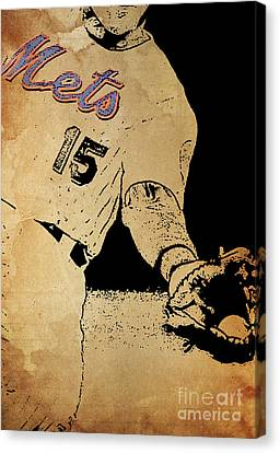 Thor Canvas Print - New York Mets 15 Red And Blue Vintage Cards On Brown Background by Pablo Franchi