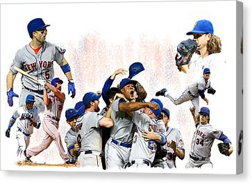 New York Mets 2015  Metropolitan Champions Canvas Print by Iconic Images Art Gallery David Pucciarelli