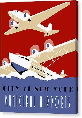 New York Muni Airports W P A Redux Canvas Print by Daniel Hagerman