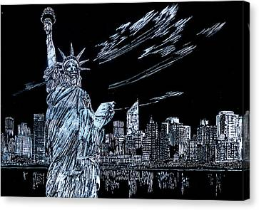 Canvas Print featuring the drawing New York New York New York  by Saad Hasnain