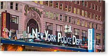 Ny Police Department Canvas Print - New York Police Times Square by Terry Weaver