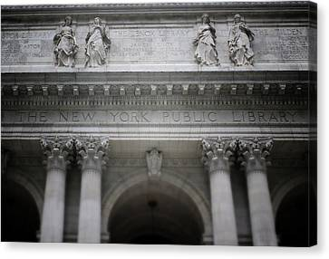 Canvas Print featuring the mixed media New York Public Library- Art By Linda Woods by Linda Woods
