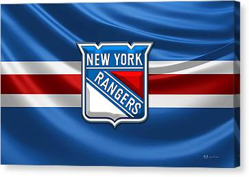 New York Rangers - 3d Badge Over Flag Canvas Print