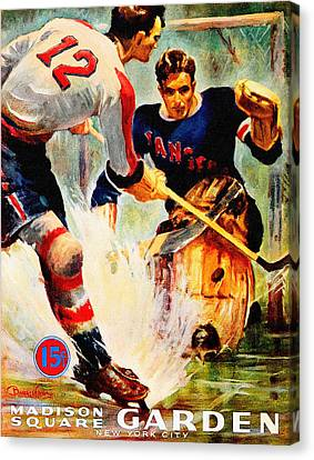 New York Rangers Vintage Three Poster Canvas Print by Big 88 Artworks