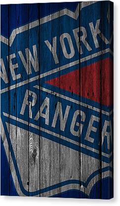 New York Rangers Wood Fence Canvas Print by Joe Hamilton