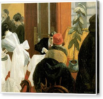 New York Restaurant Canvas Print by Edward Hopper