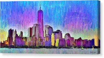 Manhatan Canvas Print - New York Skyline 2 - Pa by Leonardo Digenio