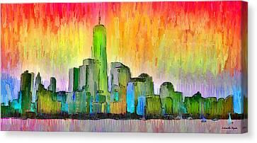 Terrorism Canvas Print - New York Skyline 6 - Da by Leonardo Digenio