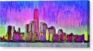 New York Skyline 7 - Pa Canvas Print by Leonardo Digenio