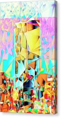 Canvas Print featuring the photograph New York Skyline 911 Twin World Trade Center In Abstract Cubism 20170326 by Wingsdomain Art and Photography
