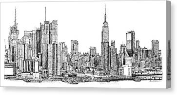 New York Skyline As Gift Canvas Print by Building  Art