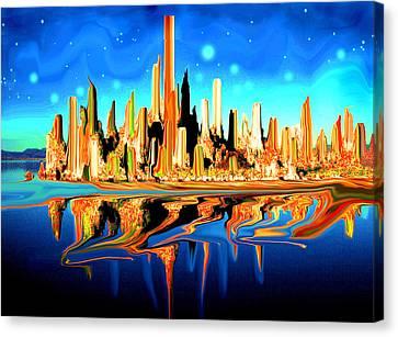 New York Skyline In Blue Orange - Modern Art Canvas Print