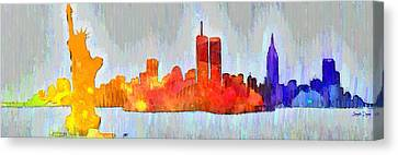 New York Skyline Old Shapes 3 - Da Canvas Print
