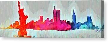 New York Skyline Old Shapes - Da Canvas Print by Leonardo Digenio