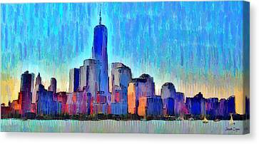 New York Skyline - Pa Canvas Print by Leonardo Digenio