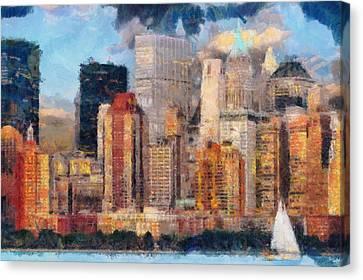 New York Canvas Print - New York Skyline Painting Art - Manhattan Hudson View by Wall Art Prints