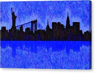 New York Skyline Silhouette Blue - Da Canvas Print