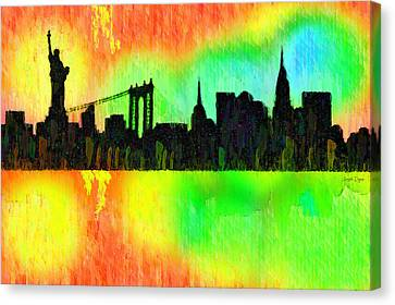 New York Skyline Silhouette Colorful - Pa Canvas Print