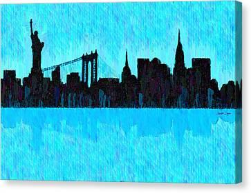 Bay Canvas Print - New York Skyline Silhouette Cyan - Da by Leonardo Digenio