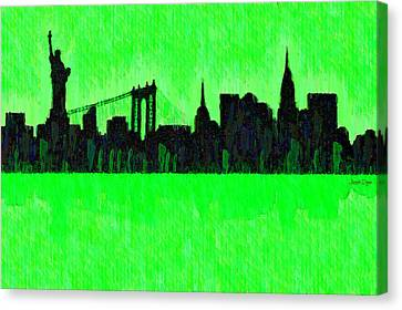 New York Skyline Silhouette Green - Pa Canvas Print
