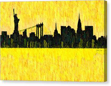 New York Skyline Silhouette Orange - Da Canvas Print by Leonardo Digenio